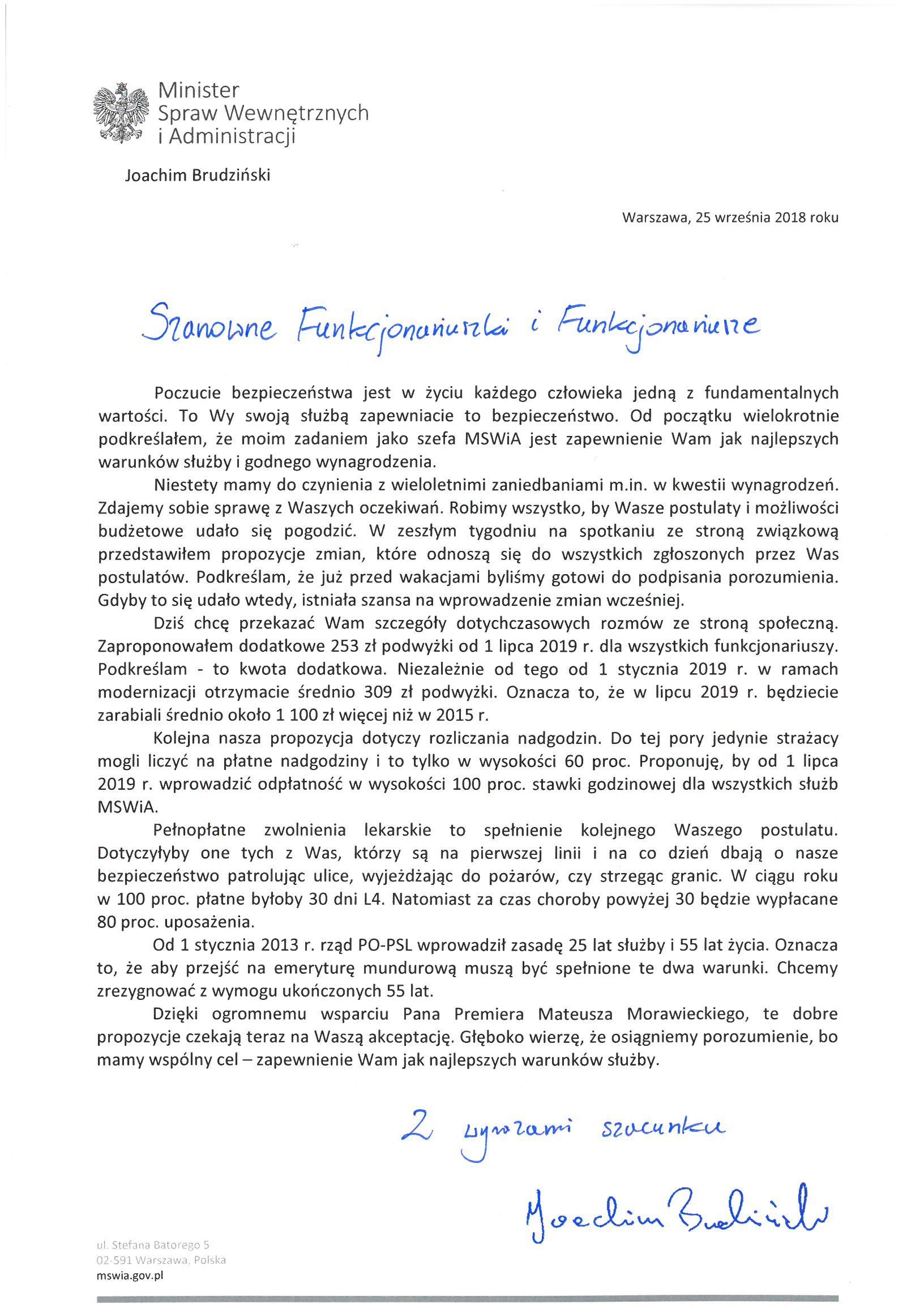 List Ministra Spraw Wewnętrzych i Administracji